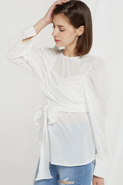 Margot Sash Wrap Tie Blouse