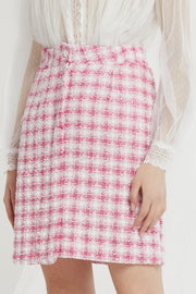 Zenia Grid Tweed Skirt