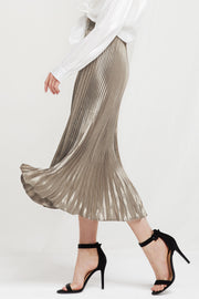 Skyler Metallic Pleated Maxi Skirt-2 Colors