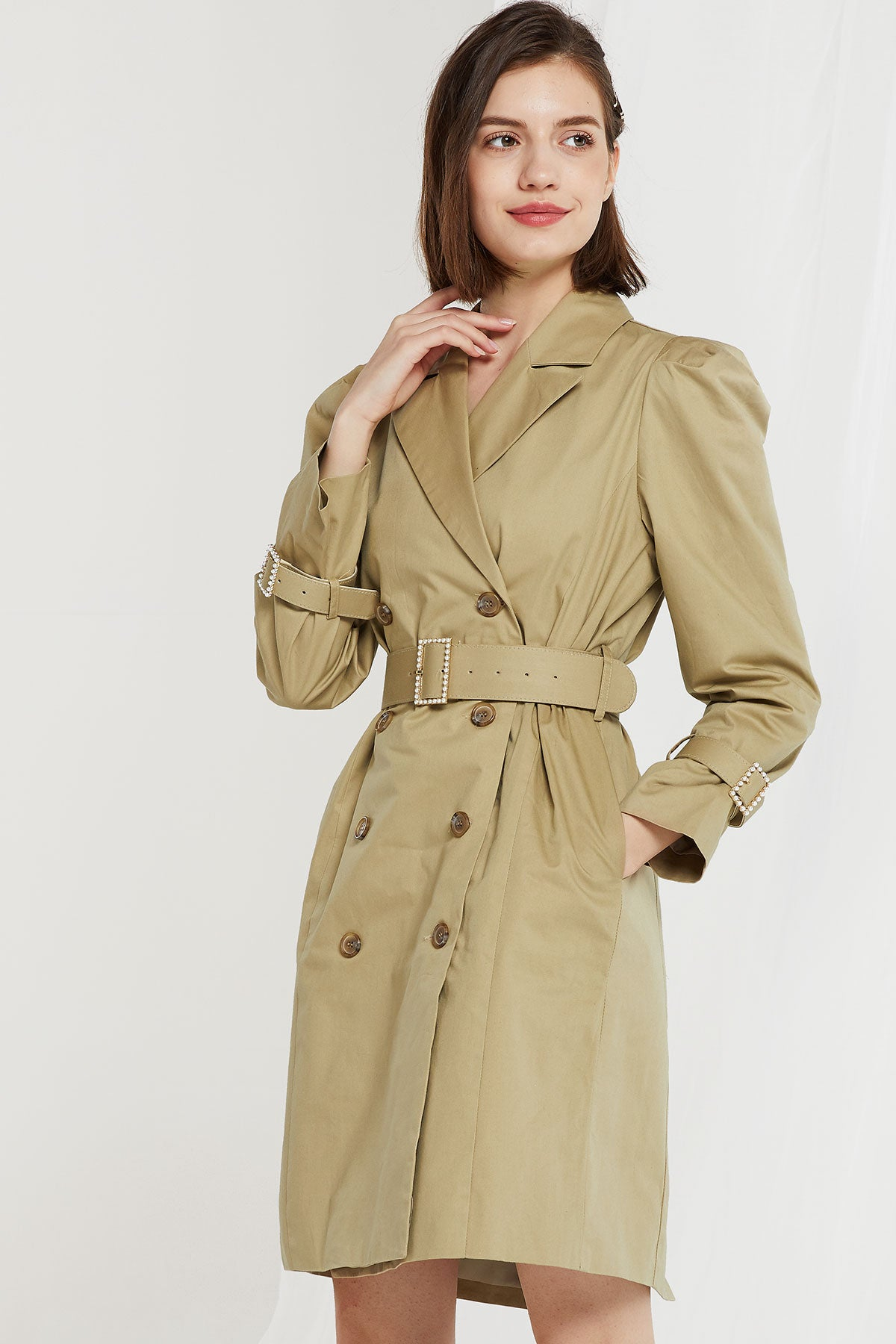 Serenity Puff Sleeve Trench Dress