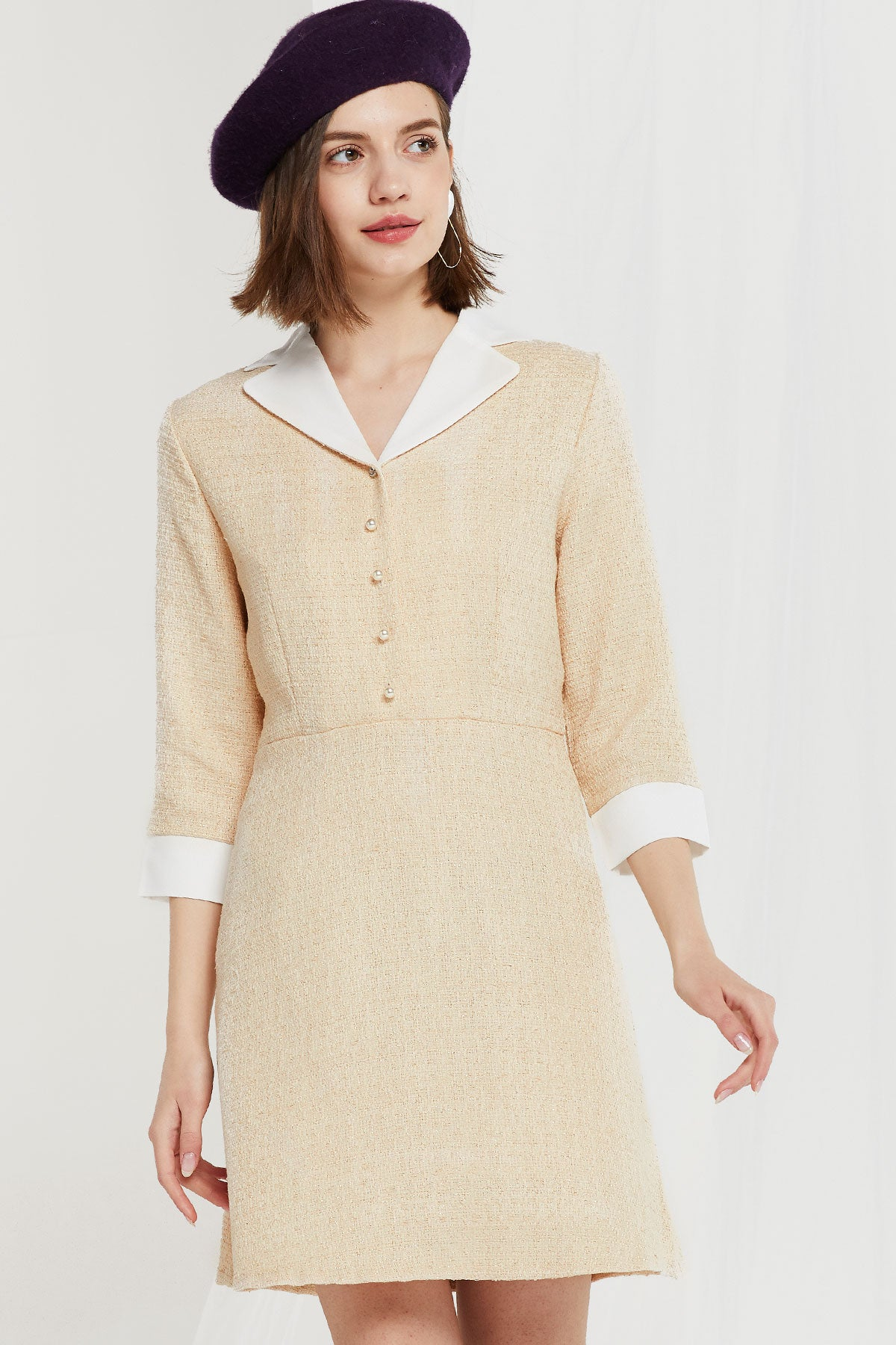 Orrin Contrast Notched Collar Dress