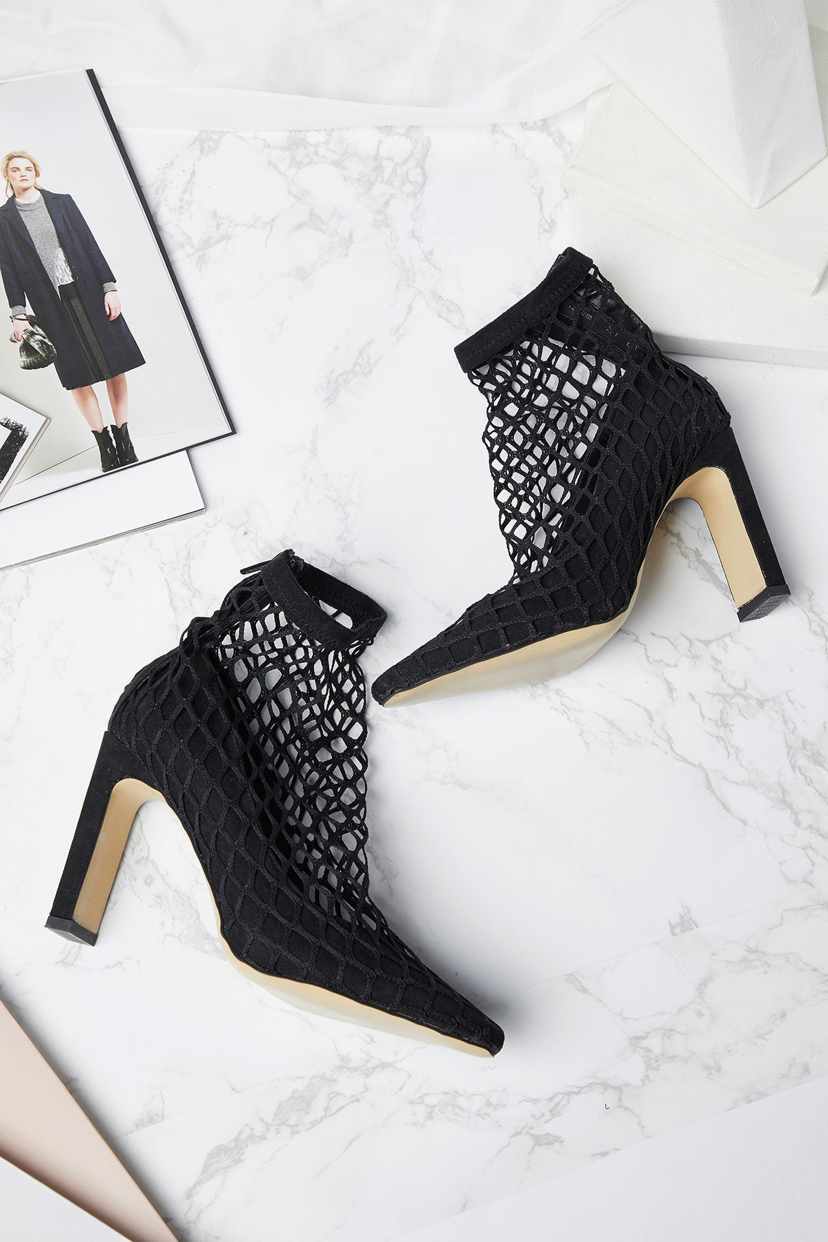 Fish Net Ankle Cover Heels