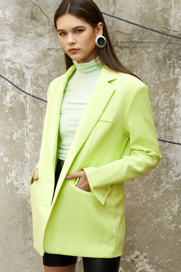 AMORE OVERSIZED BLAZER IN LIME by STORETS