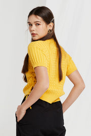 Lynn Ruched Sides Ribbed Knit Top