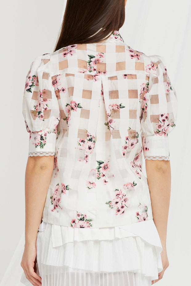 Melissa Sheer Floral Checkered Blouse