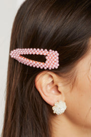 Color Pop Pearl Beaded Hair Clip-3 Colors