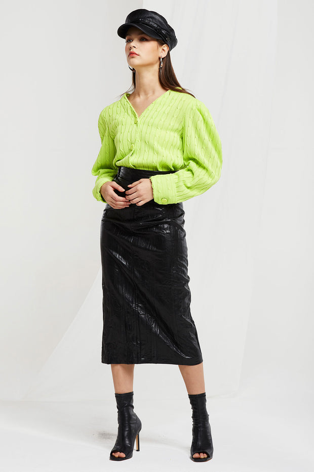Torti Crinkled Pleather Skirt