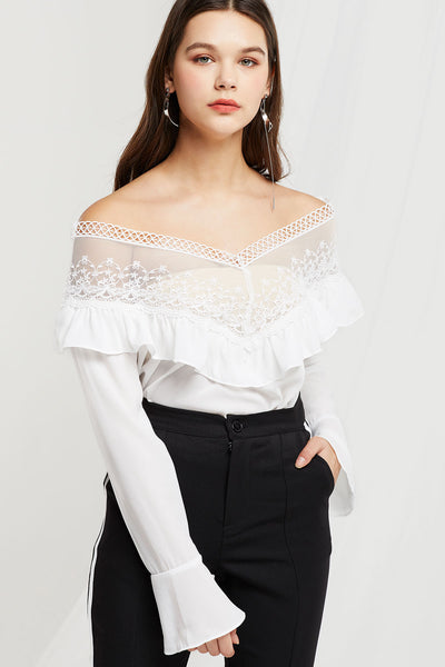 Odelia Sheer Lace Neck Blouse