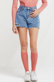 Kiera Frayed Denim Shorts