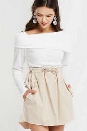 Floda Diagonal Fold-over Collar Top