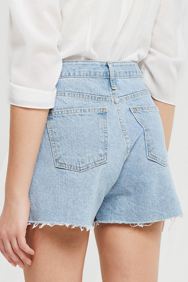 Viora Cut Off Ripped Shorts in Denim