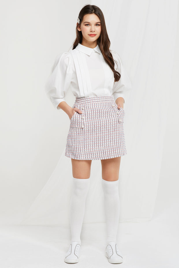 Eshlly Pearl Button Skort in Tweed
