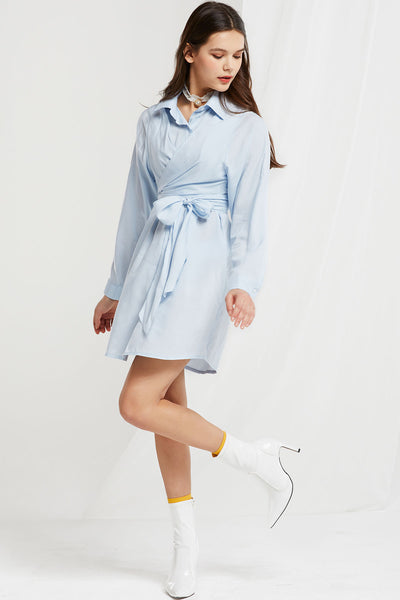Zelda Wrap Sash Tie Shirt Dress