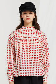 Stien Mock Neck Checkered Blouse