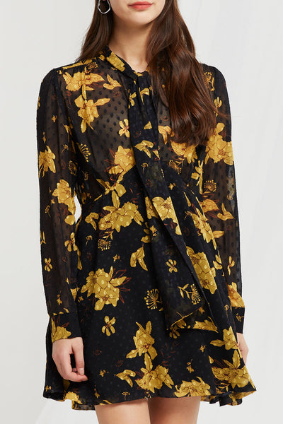 Aster Floral Sheer Tie Dress