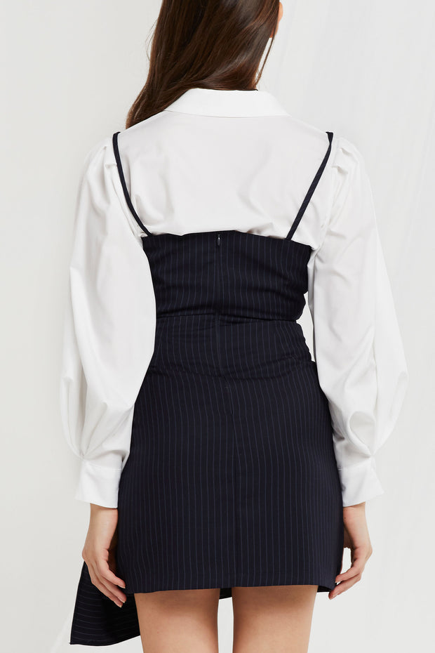 Sera Pinstripe Tie Wrap Dress