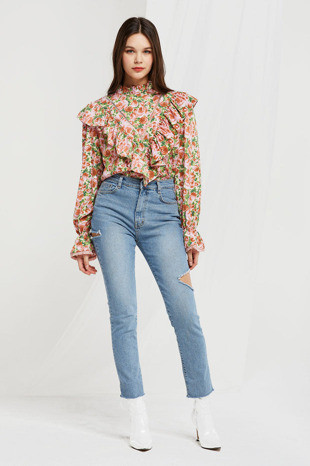 Iris Rose Printed Ruffle Blouse