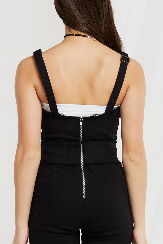 Judia Lace-up Eyelet Skinny Overalls