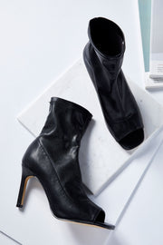 Open Toe Pleather Booties
