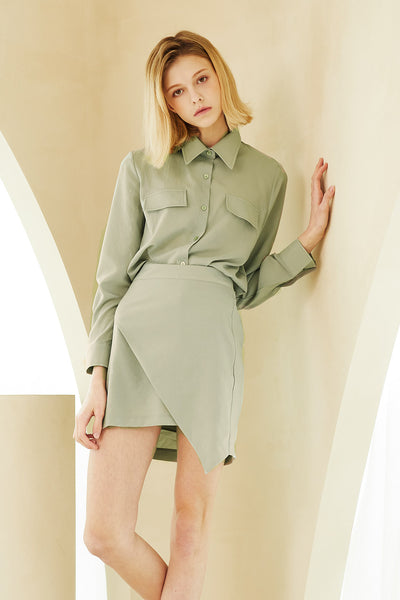 storets.com Mila Wrap Effect Shirt And Skirt Set