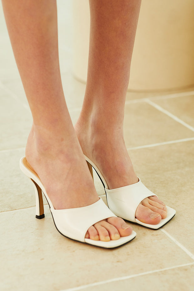 Square Toe Heeled Mules