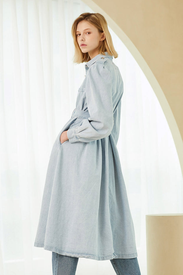 Scarlett Belted Denim Long Trench Coat