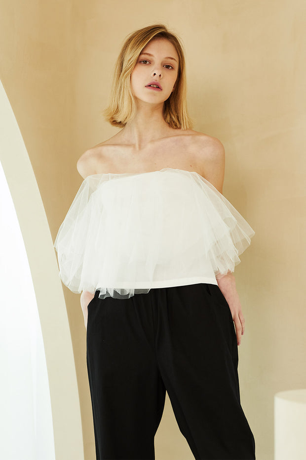 storets.com Bell Tulle Off-the-Shoulder Top