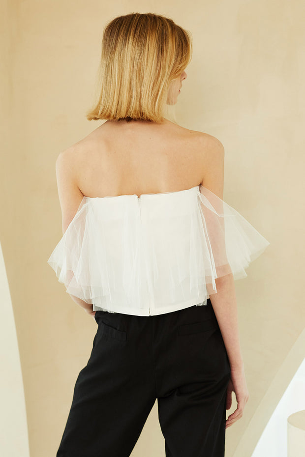 Bell Tulle Off-the-Shoulder Top