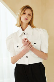 Everly Contrast Button Crop Shirt