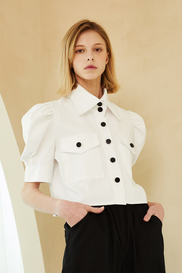 storets.com Everly Contrast Button Crop Shirt