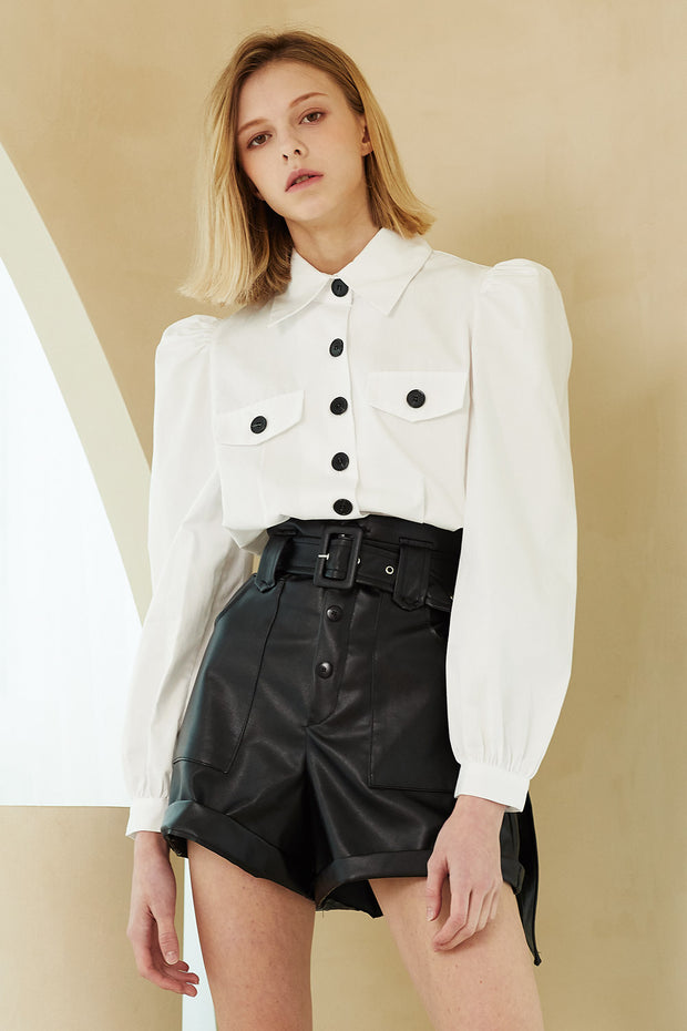 Maya Contrast Button Crop Shirt