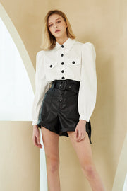 Nevaeh Paperbag Waist Pleather Shorts