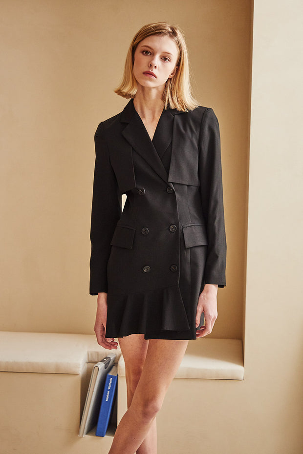 Elizabeth Ruffle Hem Blazer Dress