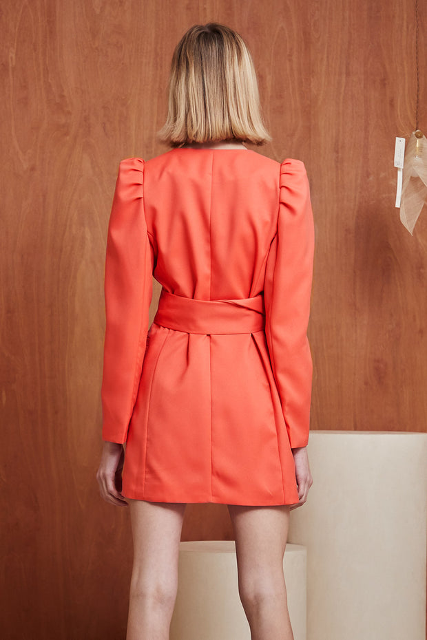 Penelope Puff Sleeve Belted Blazer Dress