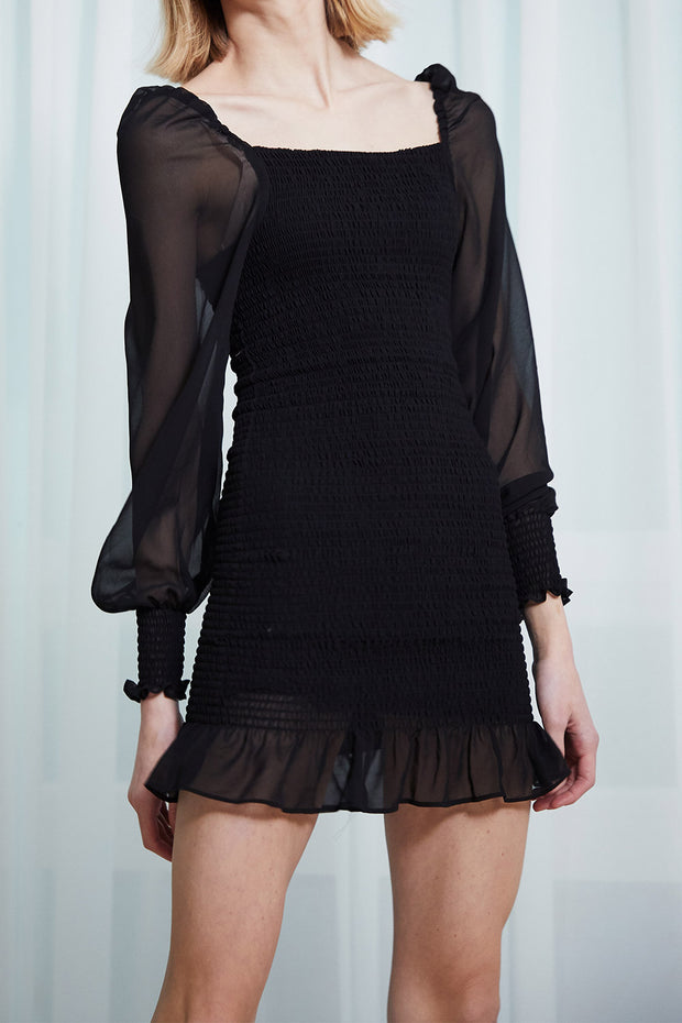 Emily Sheer Puff Sleeve Smock Dress