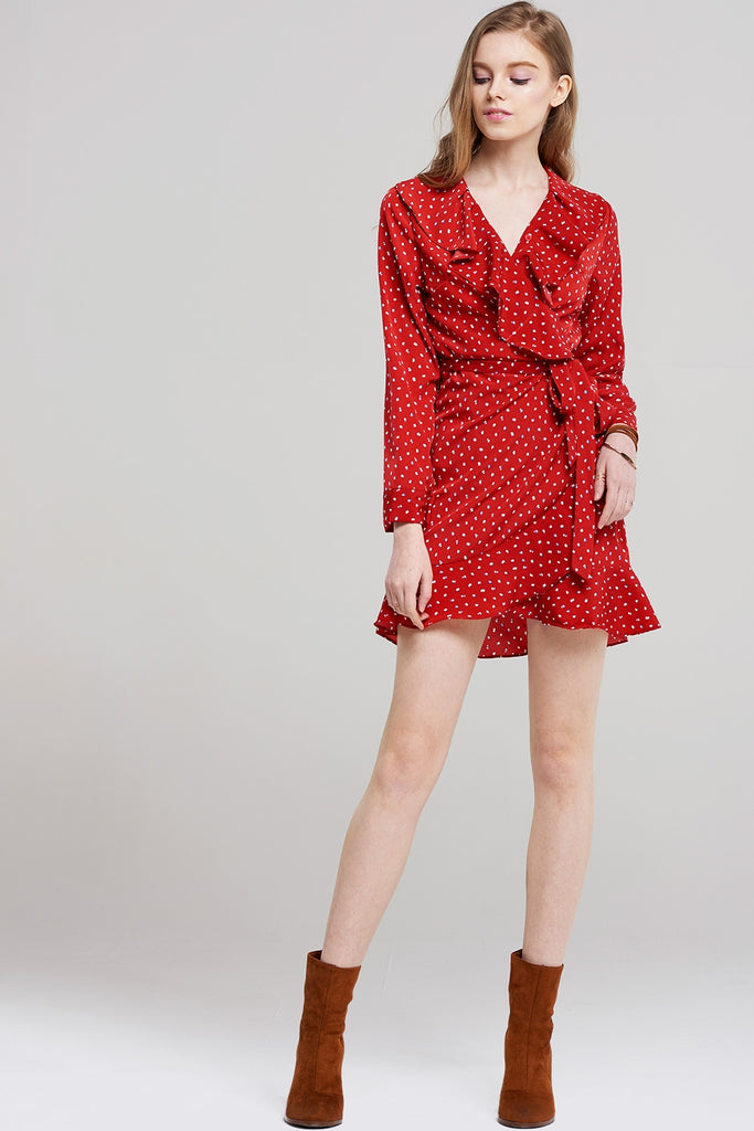 Carla Cherry Ruffle Wrap Dress