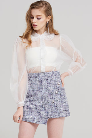 Blair Pearl Buttoned Tweed Skirt