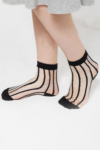 Striped Mesh Ankle Socks by STORETS