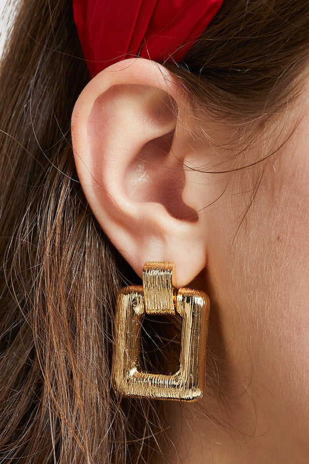 Bold Gold Square Earrings by STORETS