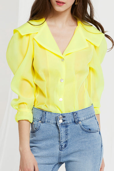 Dahab Sheer Sailor Collar Blouse by STORETS