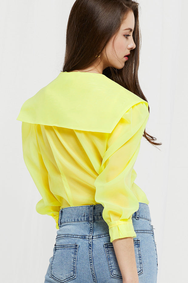 Dahab Sheer Sailor Collar Blouse (Pre-Order)