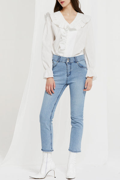 Upton Two Buttons High Rise Jeans by STORETS