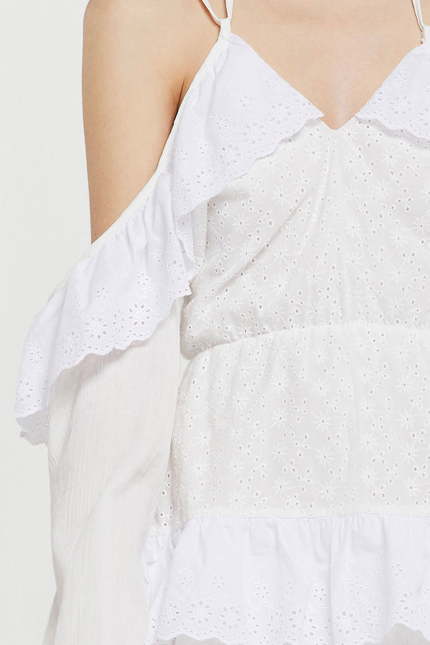storets.com Amelie Cold Shoulder Eyelet Dress