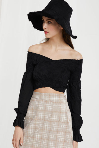 Jaden Smocked Overlap Crop Top by STORETS