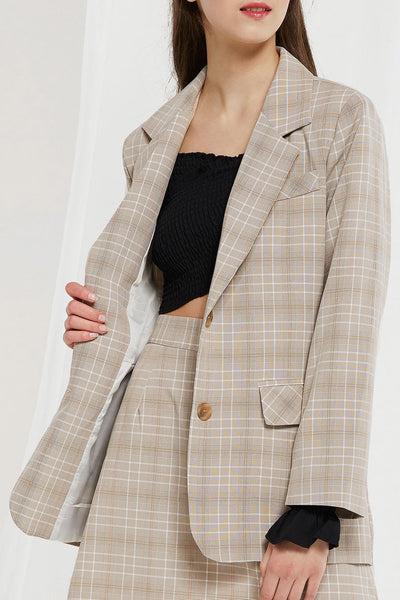 Adina Plaid Jacket And Skirt Set