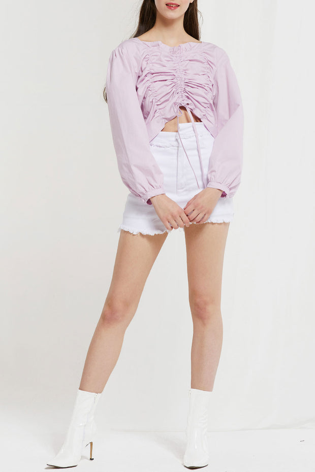 Kai Drawstring Shirred Blouse