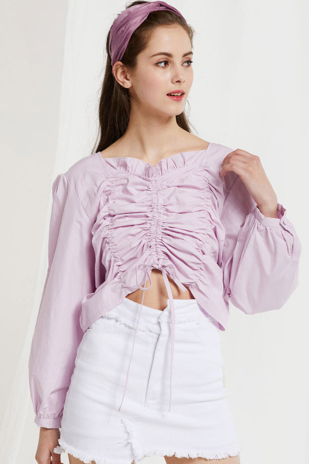 Kai Drawstring Shirred Blouse by STORETS