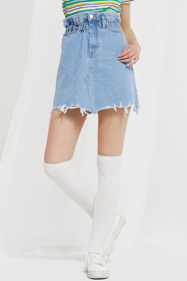 Lala Raw Edge Denim Skirt by STORETS