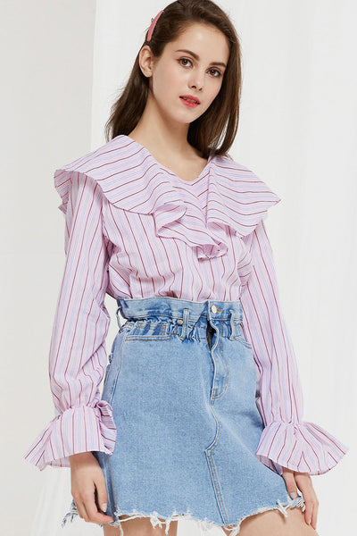 Eldora Striped Ruffle Neck Blouse (Pre-Order)