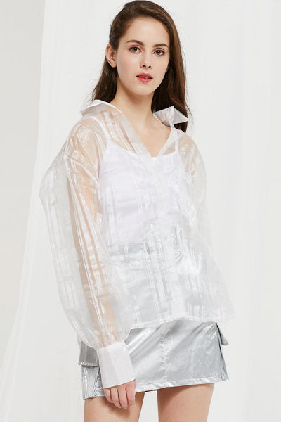 Audrey Plaid Organza Shirt by STORETS